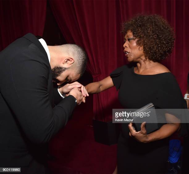 Drake and Alfre Woodard attend the Netflix Golden Globes after party at Waldorf Astoria Beverly Hills on January 7 2018 in Beverly Hills California