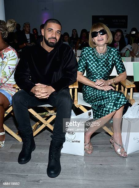Drake and Anna Wintour attend the Serena Williams Signature Statementby HSN show during Spring 2016 Style360 on September 15 2015 in New York City