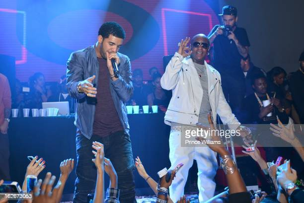 Drake and Birdman perform at Stereo live at Lil Wayne Hosted Party at February 17 2013 in Houston Texas