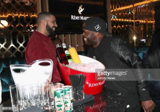 Drake and DJ Steph Floss attend as Lebron James hosts Dwyane Wade's Birthday with The House Of Remy Martin at Drake's New Pick 6ix Restaurant on...