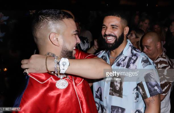Drake and French Montana during the Hublot Collectors Dinner to celecrate French Montana Haute Living Cover on August 18 2019 in Miami Florida