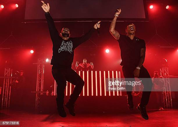 Drake and Future perform on stage at Gucci and Friends Homecoming Concert at Fox Theatre on July 22 2016 in Atlanta Georgia
