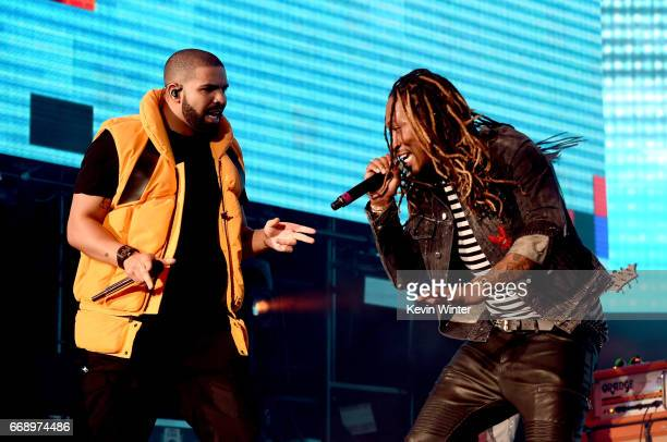 Drake and Future perform on the Coachella Stage during day 2 of the Coachella Valley Music And Arts Festival at the Empire Polo Club on April 15 2017...