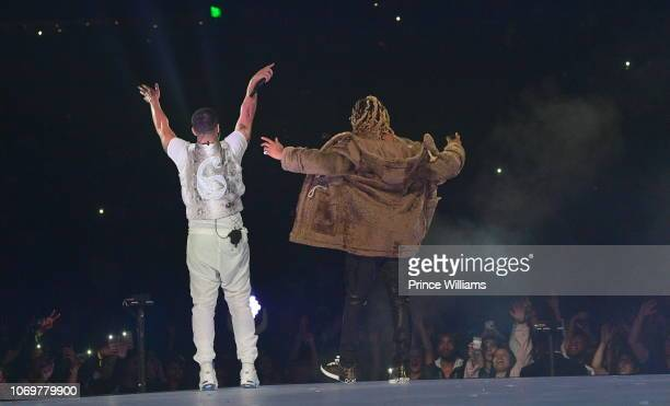 Drake and Future perform onstage during the Final Stop of 'Aubrey The three Amigos Tour' at State Farm Arena on November 18 2018 in Atlanta Georgia