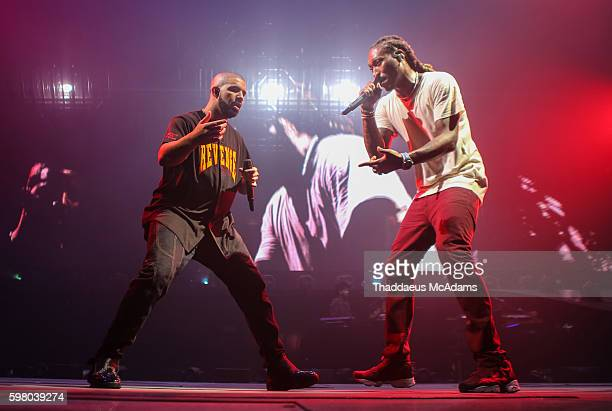 Drake and Future performing on stage during The Summer Sixteen Tour at AmericanAirlines Arena on August 30 2016 in Miami Florida