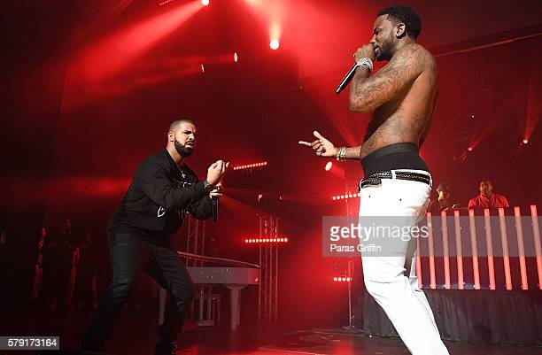 Drake and Gucci Mane perform on stage at Gucci and Friends Homecoming Concert at Fox Theatre on July 22 2016 in Atlanta Georgia