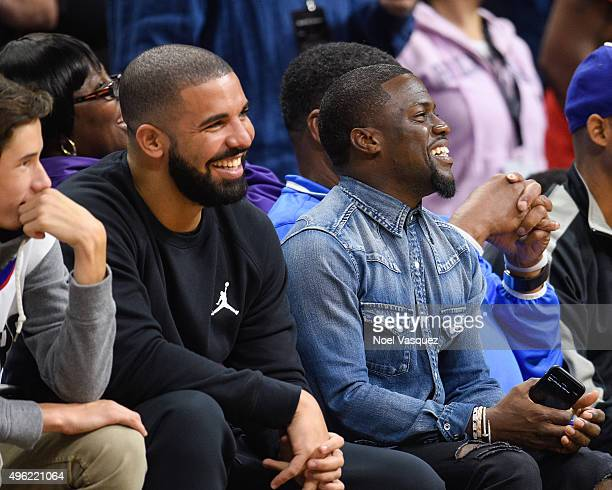 Drake and Kevin Hart attend a basketball game between the Houston Rockets and the Los Angeles Clippers at Staples Center on November 7, 2015 in Los...