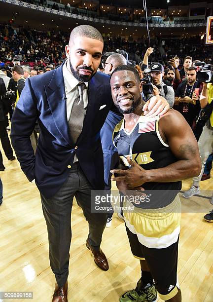 Drake and Kevin Hart attend the 2016 NBA AllStar Celebrity Game at Ricoh Coliseum on February 12 2016 in Toronto Canada