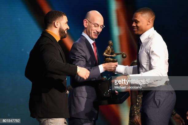 Drake and NBA Commissoner Adam Silver present 201617 NBA Most Valuable Player award to Russell Westbrook speaks On TNT on June 26 2017 in New York...