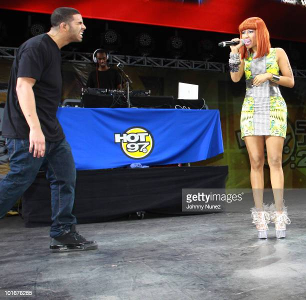 Drake and Nicki Minaj perform during Hot 97 Summer Jam 2010 at the Meadowlands Sports Complex on June 6 2010 in East Rutherford New Jersey