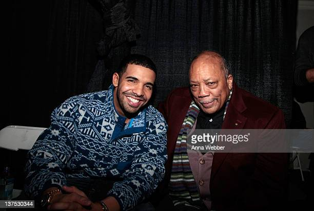 Drake and Quincy Jones attend Comedy with Aziz Ansari and a Drake Performance presented by Bing at The Bing Bar on January 21 2012 in Park City Utah