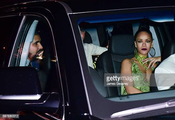 Drake and Rihanna leave a 2016 MTV Video Music Awards After Party at UpDown on August 28 2016 in New York City