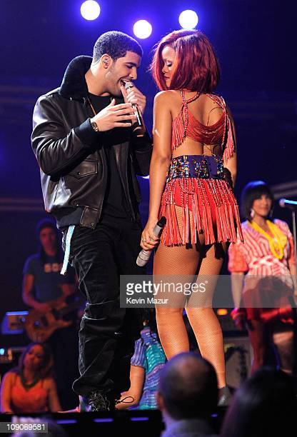 Drake and Rihanna perform onstage during The 53rd Annual GRAMMY Awards held at Staples Center on February 13 2011 in Los Angeles California