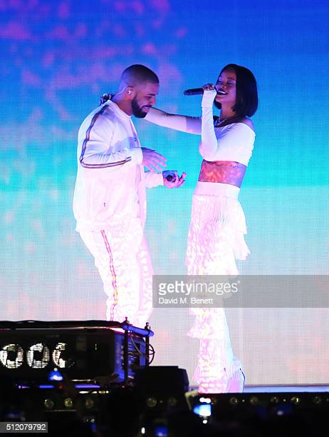 Drake and Rihanna perform together at the BRIT Awards 2016 at The O2 Arena on February 24 2016 in London England