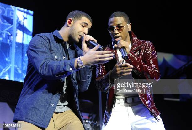 Drake and Trey Songz perform at Staples Center on November 18 2010 in Los Angeles California