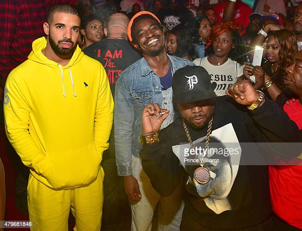 Drake Andre 3000 and Big Boi attend at Compound on June 20 2015 in Atlanta Georgia