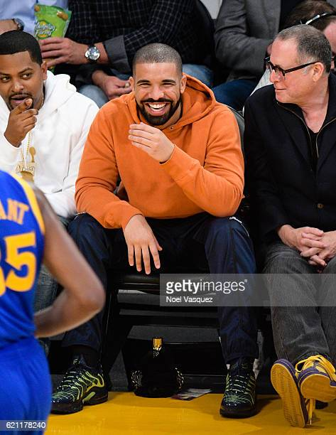Drake attends a basketball game between the Golden State Warriors and the Los Angeles Lakers at Staples Center on November 4 2016 in Los Angeles...