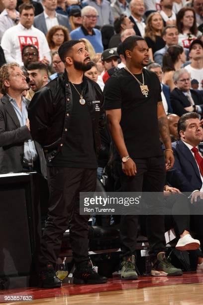 Drake attends a game between Toronto Raptors and Cleveland Cavaliers in Game One of Round Two of the 2018 NBA Playoffs on May 1 2018 at the Air...