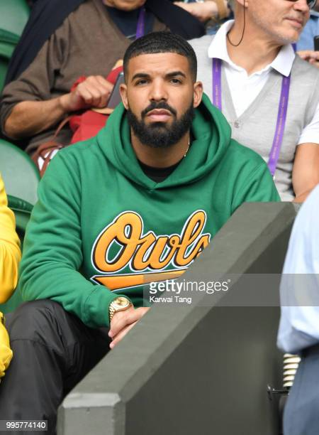 Drake attends day eight of the Wimbledon Tennis Championships at the All England Lawn Tennis and Croquet Club on July 10 2018 in London England