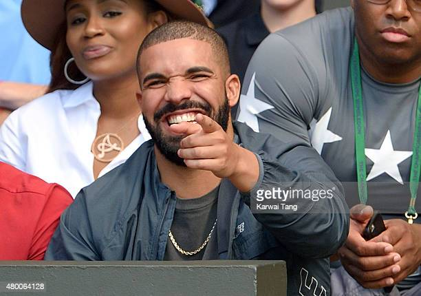 Drake attends day ten of the Wimbledon Tennis Championships at Wimbledon on July 9 2015 in London England