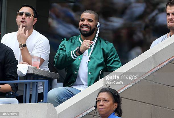 Drake attends Serena Williams' semifinal on day twelve of the 2015 US Open at USTA Billie Jean King National Tennis Center on September 11 2015 in...