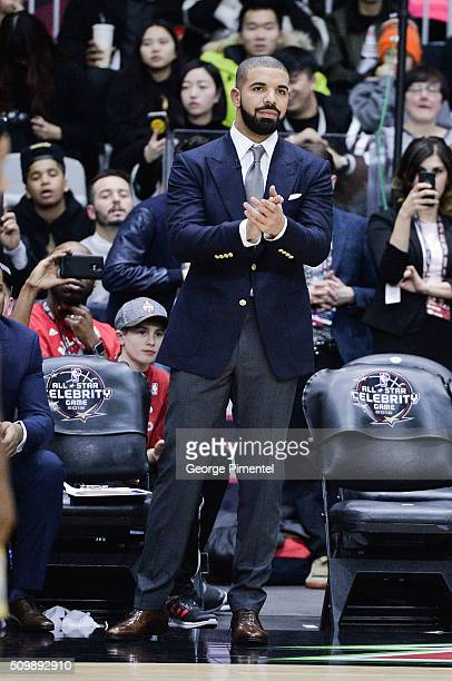 Drake attends the 2016 NBA AllStar Celebrity Game at Ricoh Coliseum on February 12 2016 in Toronto Canada