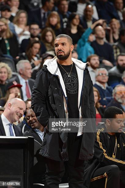 Drake attends the game between the Toronto Raptors and the Brooklyn Nets on March 8 2016 at the Air Canada Centre in Toronto Ontario Canada NOTE TO...