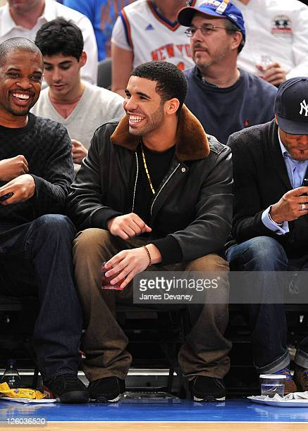 Drake attends the Miami Heat vs New York Knicks game at Madison Square Garden on December 17 2010 in New York City