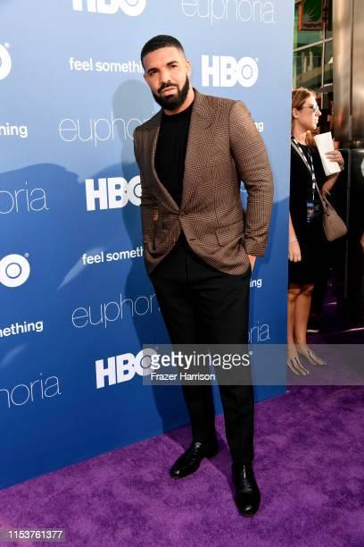 "Drake attends the LA Premiere of HBO's ""Euphoria"" at The Cinerama Dome on June 04, 2019 in Los Angeles, California."