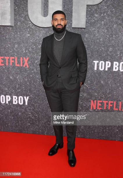 """Drake attends the """"Top Boy"""" UK Premiere at Hackney Picturehouse on September 04, 2019 in London, England."""