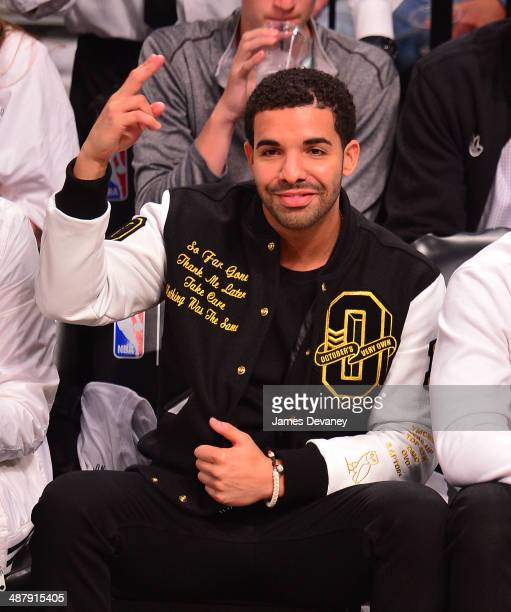 Drake attends the Toronto Raptors vs Brooklyn Nets game at Barclays Center on May 2 2014 in the Brooklyn borough of New York City