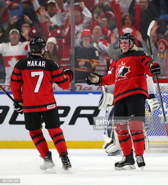 Drake Batherson celebrates his goal against Czech Republic with Cale Makar of Canada during the IIHF World Junior Championship at KeyBank Center on...