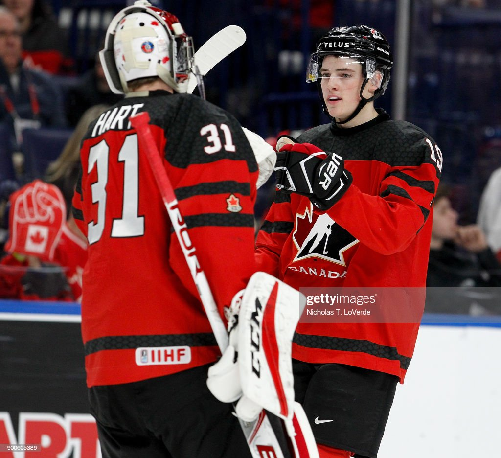 Drake Batherson #19 of Canada gets congratulations from Carter Hart #31 after scoring his second goal of the game during the second period of play in the Quarterfinal IIHF World Junior Championship game at the KeyBank Center on January 2, 2018 in Buffalo, New York.