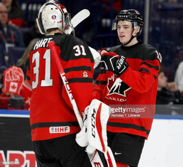Drake Batherson of Canada gets congratulations from Carter Hart after scoring his second goal of the game during the second period of play in the...