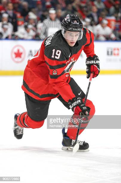 Drake Batherson of Canada skates against Switzerland during the first period of play in the Quarterfinal IIHF World Junior Championship game at the...