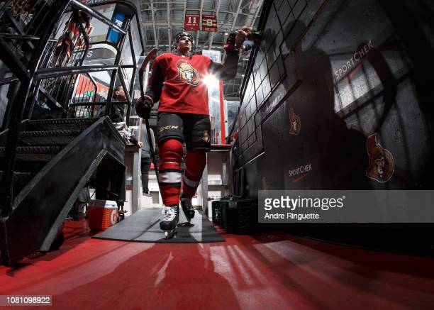 Drake Batherson of the Ottawa Senators leaves the ice after warmup prior to a game against the Boston Bruins at Canadian Tire Centre on December 9...