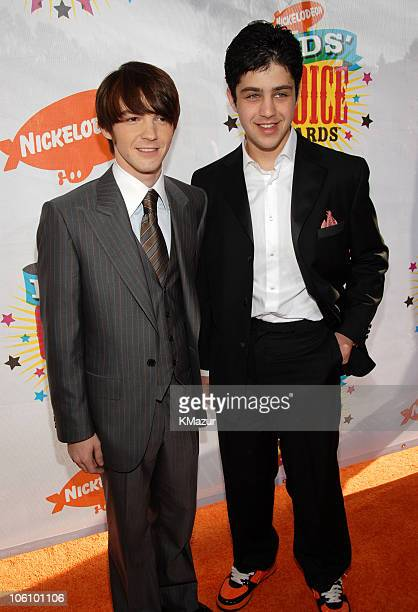 Drake Bell and Josh Peck during Nickelodeon's 19th Annual Kids' Choice Awards Orange Carpet at Pauley Pavilion in Westwood California United States