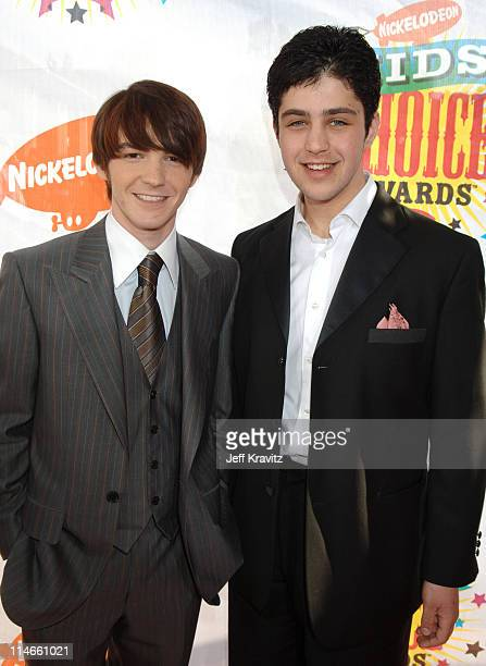 Drake Bell and Josh Peck during Nickelodeon's 19th Annual Kids' Choice Awards Orange Carpet at Pauley Pavillion in Westwood California United States