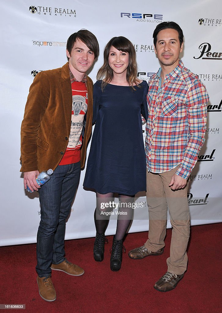Drake Bell, Sara Lissner and Jarrod Parra attend The Realm Creative red carpet premier party on February 16, 2013 in Los Angeles, California.