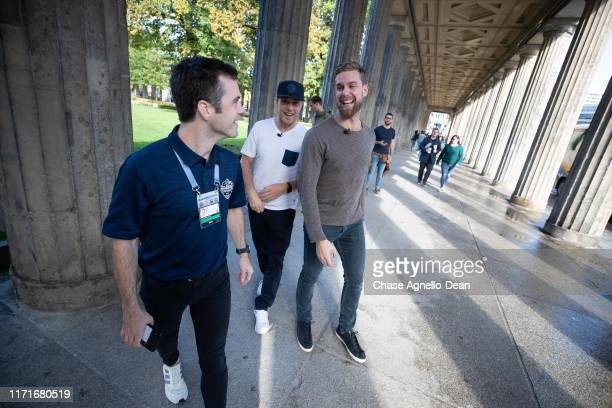 Drake Caggiula and Calvin de Haan of the Chicago Blackhawks stop at the UNESCO Welterbestätte Museumsinsel during their tour of the city September 28...