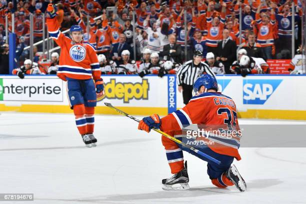 Drake Caggiula of the Edmonton Oilers celebrates after scoring the game tying goal in Game Four of the Western Conference Second Round during the...