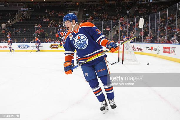 Drake Caggiula of the Edmonton Oilers warms up before playing against the Chicago Blackhawks on November 21 2016 at Rogers Place in Edmonton Alberta...
