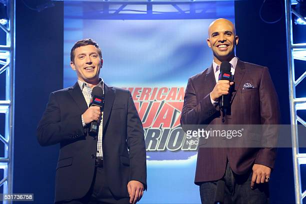 LIVE 'Drake' Episode 1703 Pictured Beck Bennett as Matt Iseman and Drake as Akbar Gbajabiamila during the 'American Ninja Warrior' sketch on May 14...