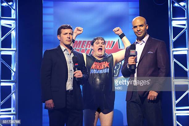 LIVE Drake Episode 1703 Pictured Beck Bennett as Matt Iseman Bobby Moynihan as Jeff Metcalf and Drake as Akbar Gbajabiamila during the American Ninja...