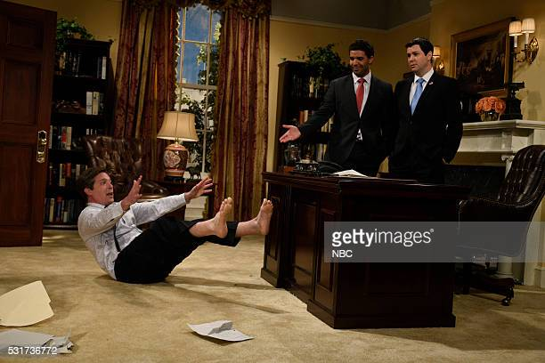 LIVE Drake Episode 1703 Pictured Beck Bennett as Mr Patterson Drake and Taran Killam as Speaker Paul Ryan during the Baby Boss sketch on May 14 2016