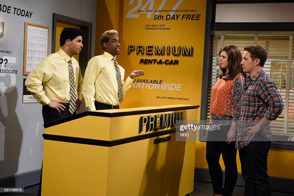LIVE -- 'Drake' Episode 1703 -- Pictured: (l-r) Drake, Jay Pharoah, Vanessa Bayer, and Beck Bennett during the 'Rental Car' sketch on May 14, 2016 --