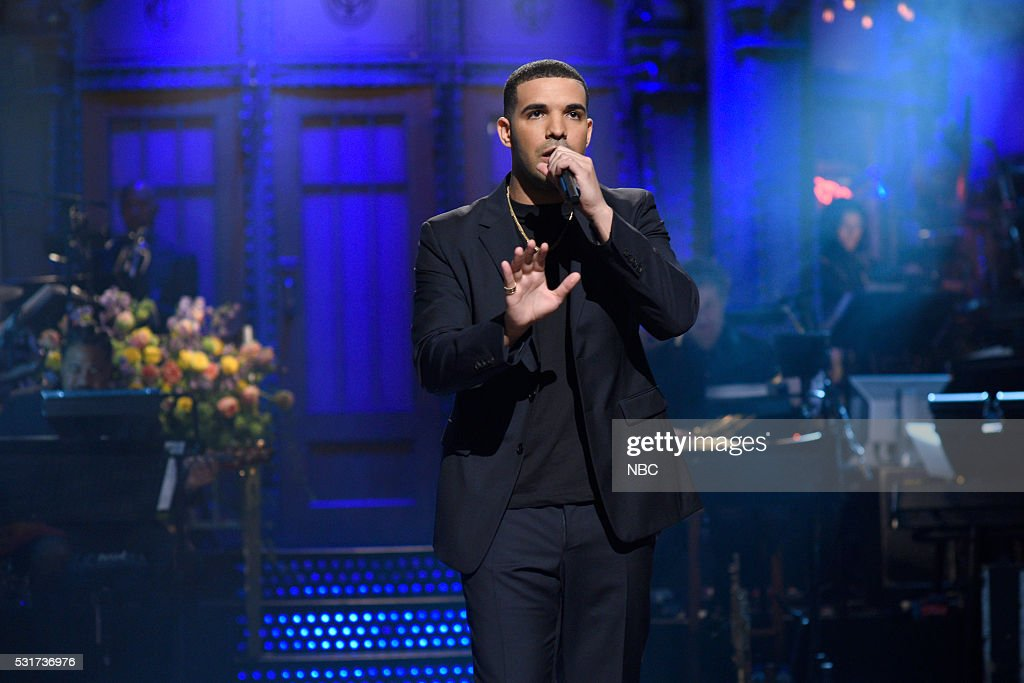 LIVE -- 'Drake' Episode 1703 -- Pictured: Host Drake during the monologue on May 14, 2016 --