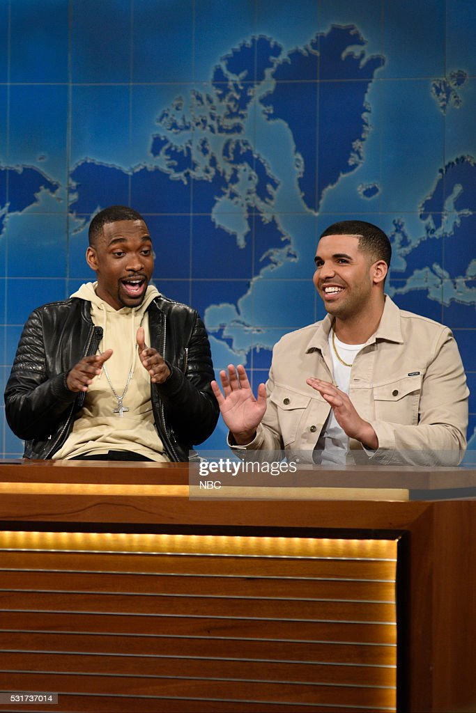 LIVE -- 'Drake' Episode 1703 -- Pictured: (l-r) Jay Pharoah and Drake during Weekend Update on May 14, 2016 --
