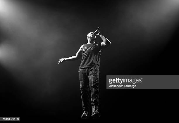 Drake is seen performing on stage during his Summer Sixteen Tour at AmericanAirlines Arena on August 30 2016 in Miami Florida