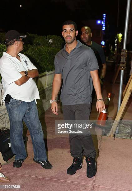 Drake is sighted at Prime 112 Steakhouse on June 20 2013 in Miami Beach Florida